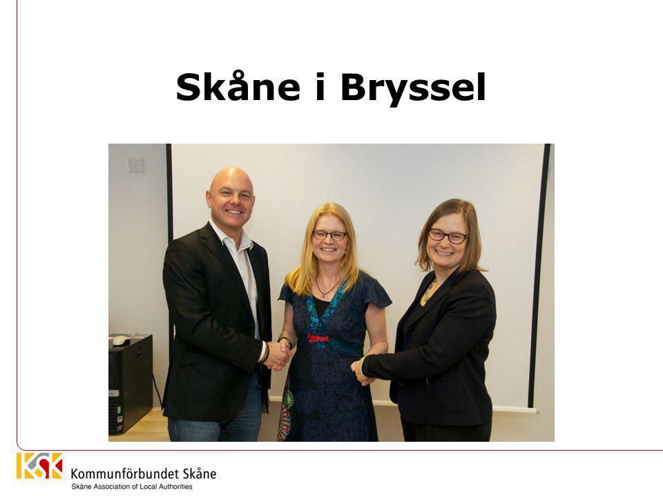 Skånska aktörer i Bryssel •Malmö Stad: 1999: •Region Skåne: 2011 •Kommunförbundet Skåne: 2013 •= jobbar alla för Skåne – men olika uppdrag och uppdragsgivare