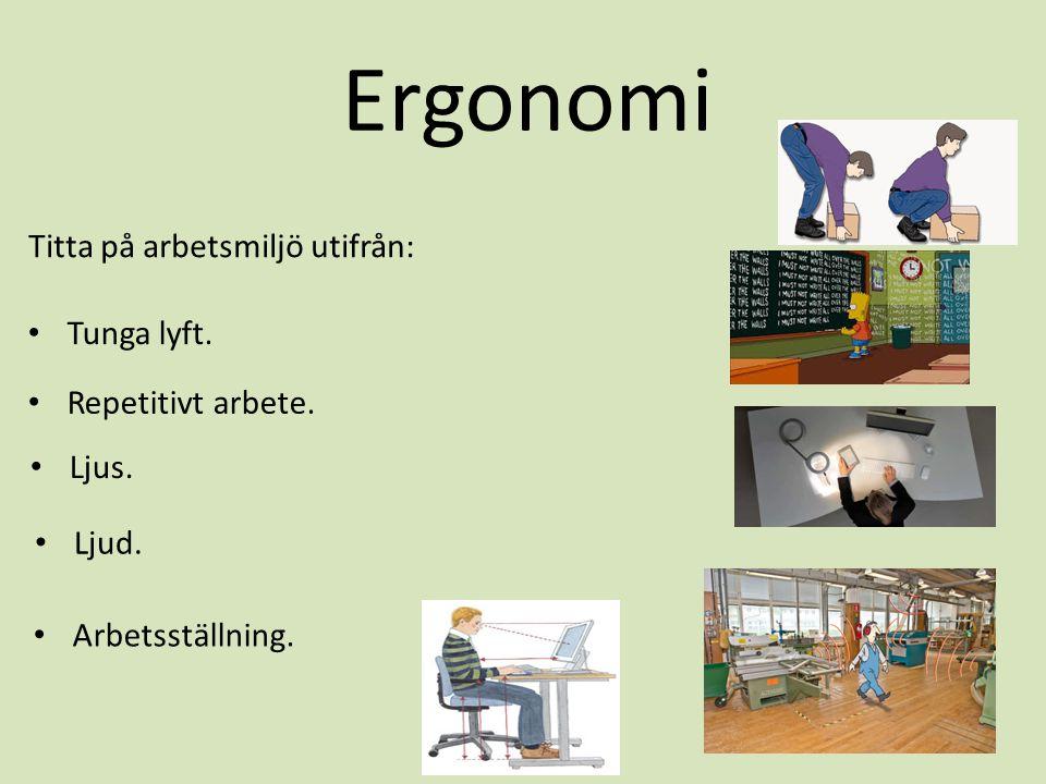 Titta på arbetsmiljö utifrån: Ergonomi • Tunga lyft. • Repetitivt arbete. • Ljus. • Ljud. • Arbetsställning.