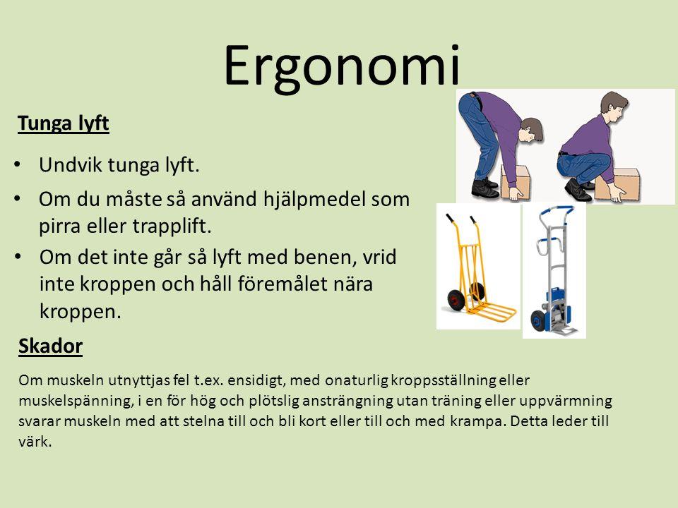 Ergonomi Tunga lyft • Undvik tunga lyft. • Om du måste så använd hjälpmedel som pirra eller trapplift. • Om det inte går så lyft med benen, vrid inte