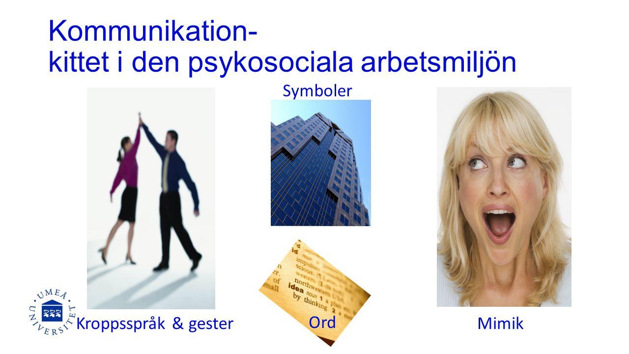 Kommunikation- kittet i den psykosociala arbetsmiljön Symboler Mimik Ord Kroppsspråk & gester