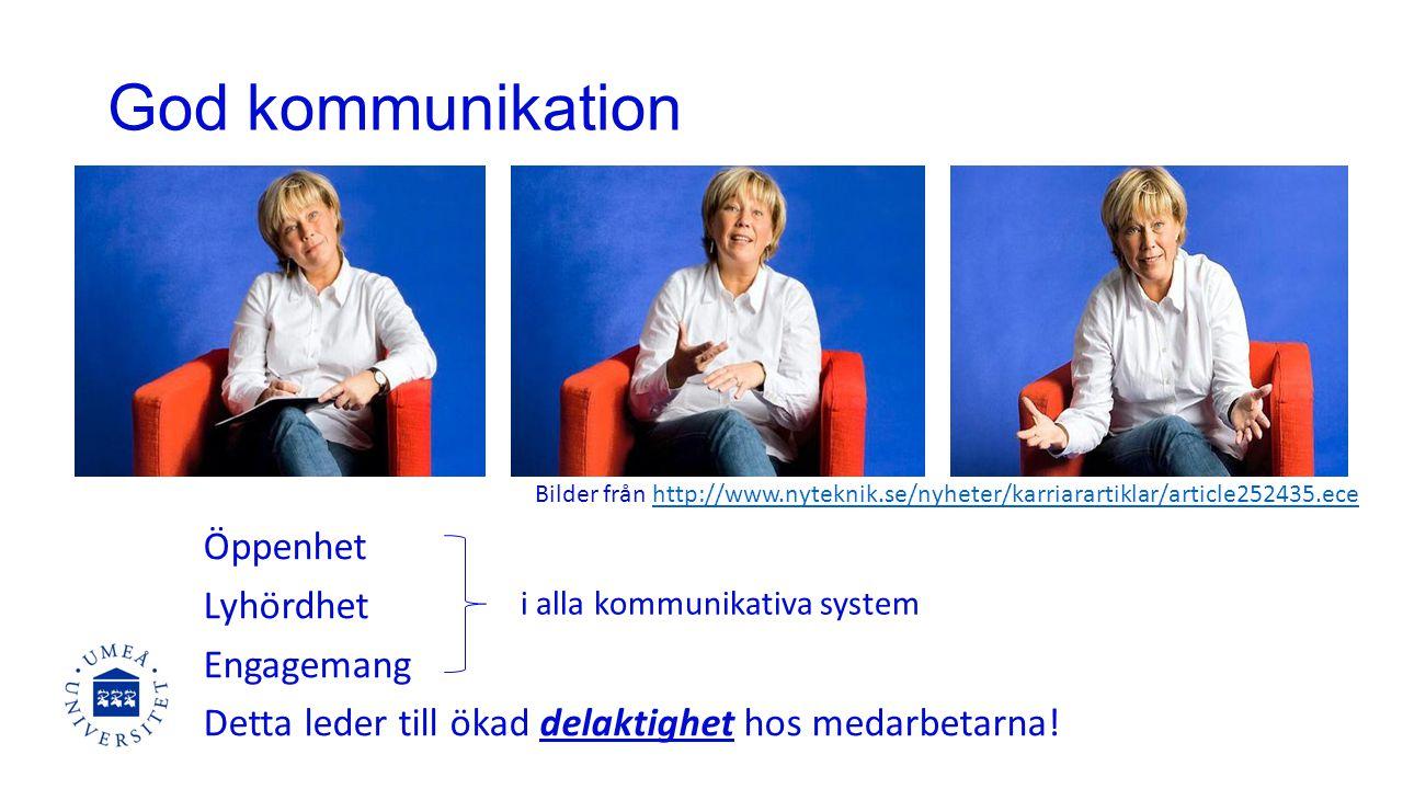 God kommunikation Öppenhet Lyhördhet Engagemang Detta leder till ökad delaktighet hos medarbetarna! i alla kommunikativa system Bilder från http://www