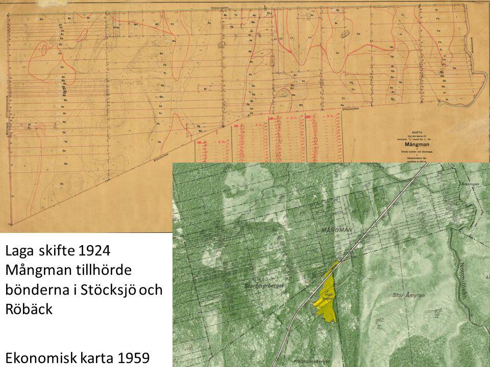 Laga skifte 1924 Mångman tillhörde bönderna i Stöcksjö och Röbäck Ekonomisk karta 1959