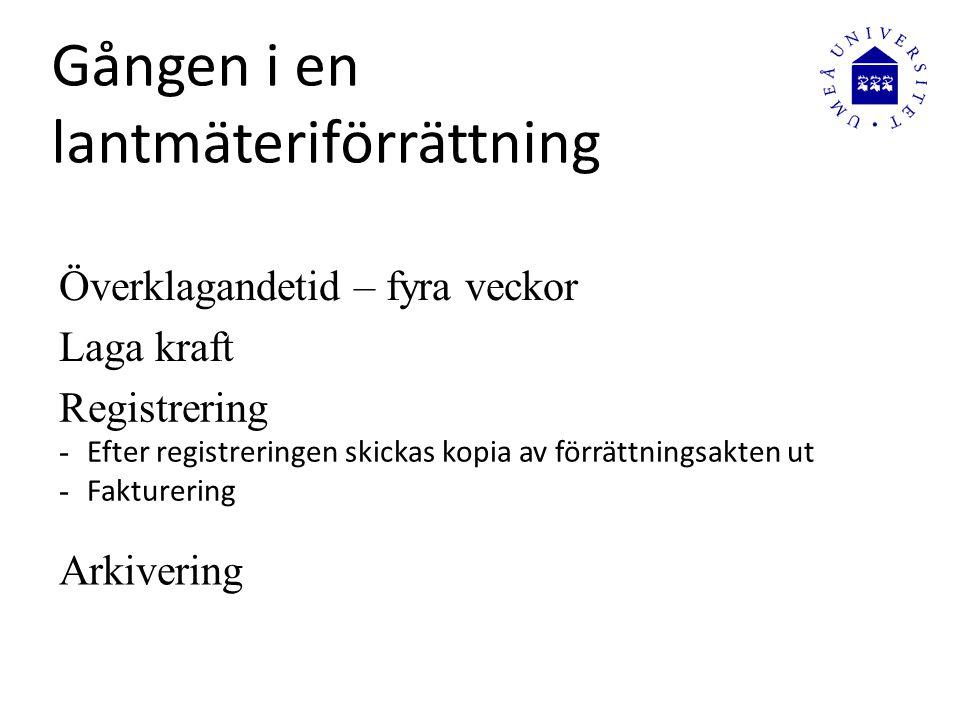 Överklagandetid – fyra veckor Laga kraft Registrering - Efter registreringen skickas kopia av förrättningsakten ut - Fakturering Arkivering Gången i e