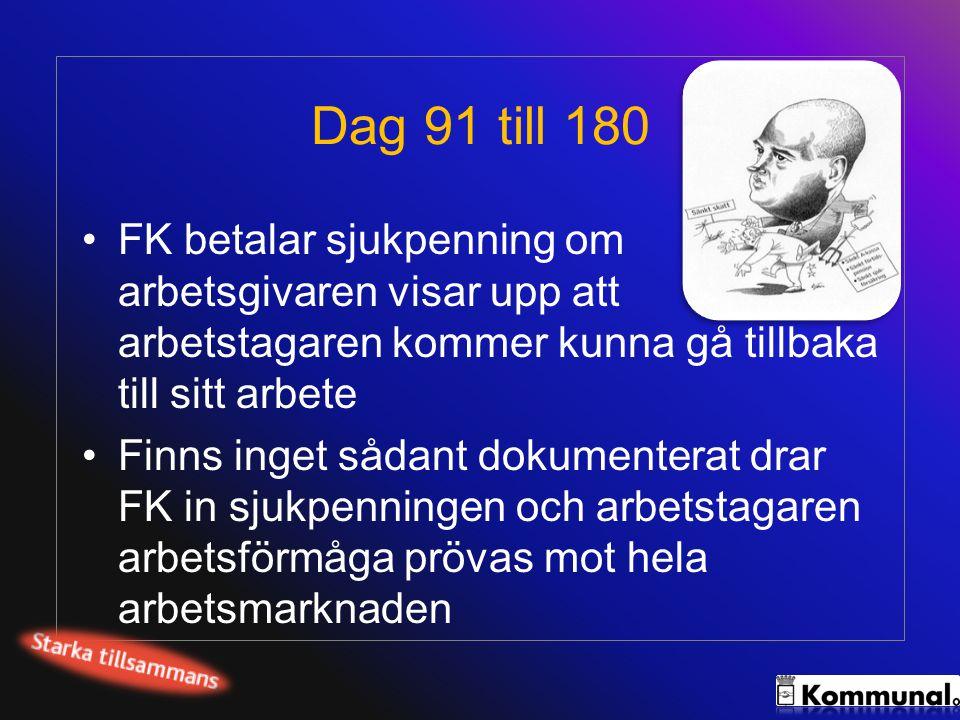 Dag 91 till 180 •FK betalar sjukpenning om arbetsgivaren visar upp att arbetstagaren kommer kunna gå tillbaka till sitt arbete •Finns inget sådant dok