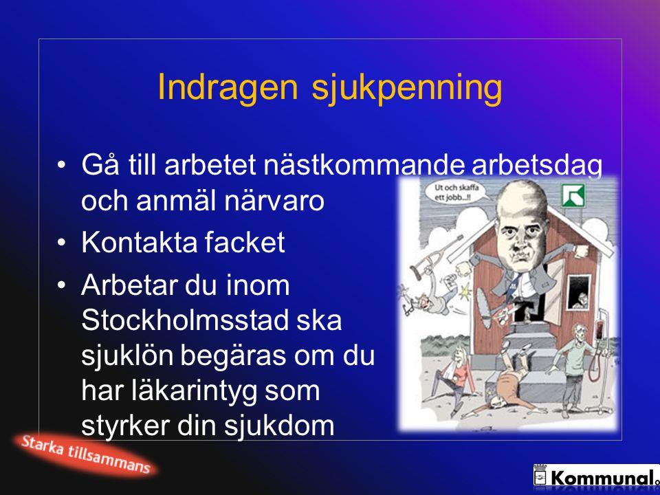 Indragen sjukpenning •Gå till arbetet nästkommande arbetsdag och anmäl närvaro •Kontakta facket •Arbetar du inom Stockholmsstad ska sjuklön begäras om