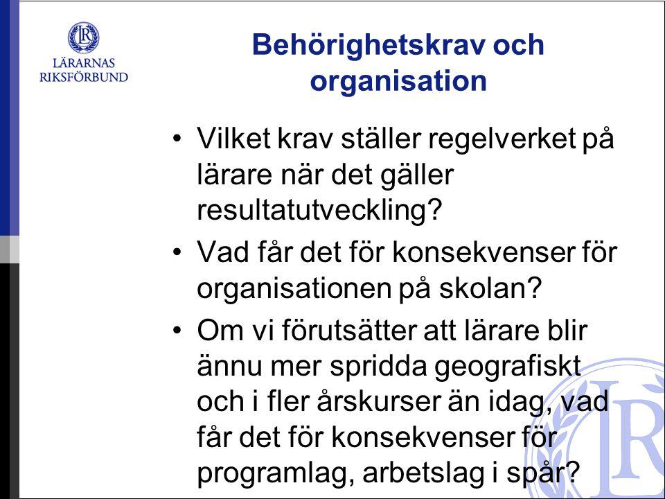 Behörighetskrav och organisation •Vilket krav ställer regelverket på lärare när det gäller resultatutveckling.