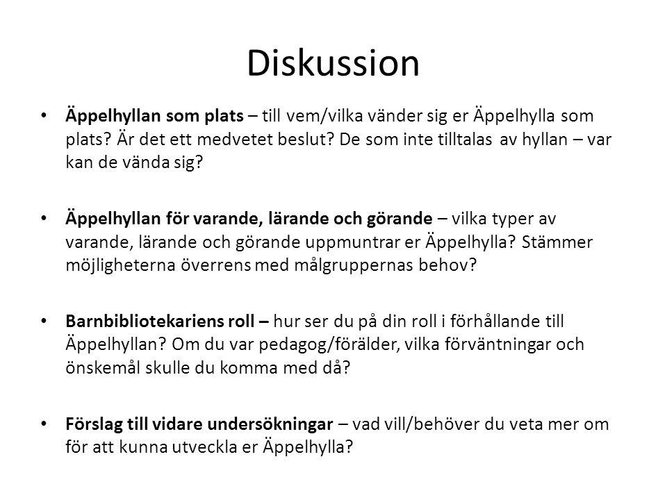 Diskussion • Äppelhyllan som plats – till vem/vilka vänder sig er Äppelhylla som plats.