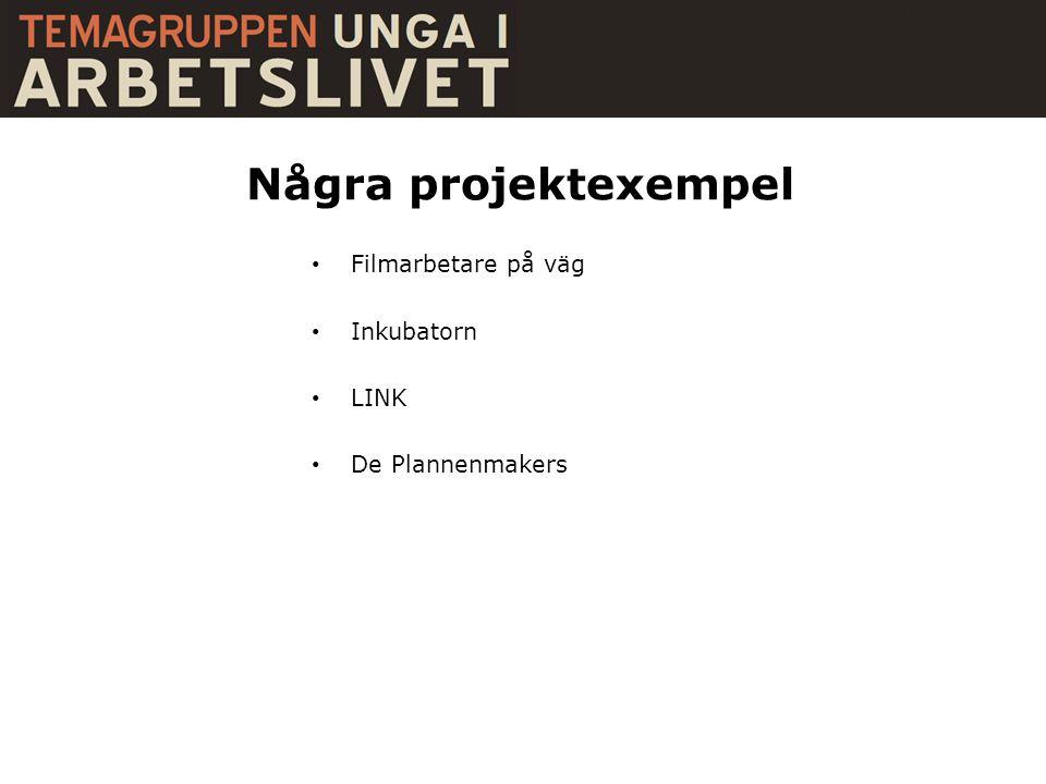 Några projektexempel • Filmarbetare på väg • Inkubatorn • LINK • De Plannenmakers