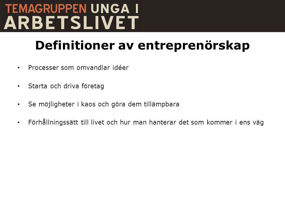 Definitioner av entreprenörskap • Processer som omvandlar idéer • Starta och driva företag • Se möjligheter i kaos och göra dem tillämpbara • Förhållningssätt till livet och hur man hanterar det som kommer i ens väg