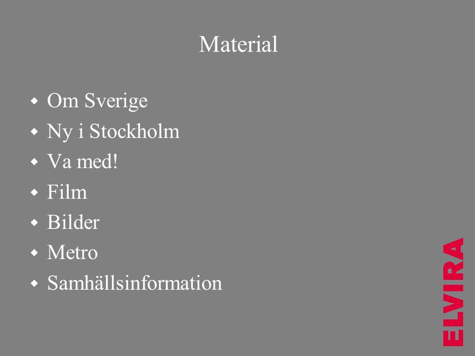 Material  Om Sverige  Ny i Stockholm  Va med!  Film  Bilder  Metro  Samhällsinformation