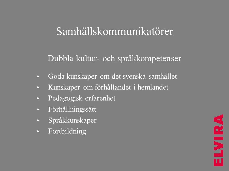 Samhällskommunikatörer Dubbla kultur- och språkkompetenser • Goda kunskaper om det svenska samhället • Kunskaper om förhållandet i hemlandet • Pedagog