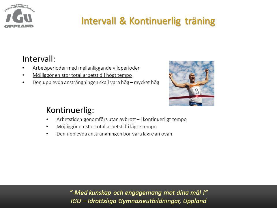 """Intervall & Kontinuerlig träning """"-Med kunskap och engagemang mot dina mål !"""" IGU – Idrottsliga Gymnasieutbildningar, Uppland Kontinuerlig: • Arbetsti"""