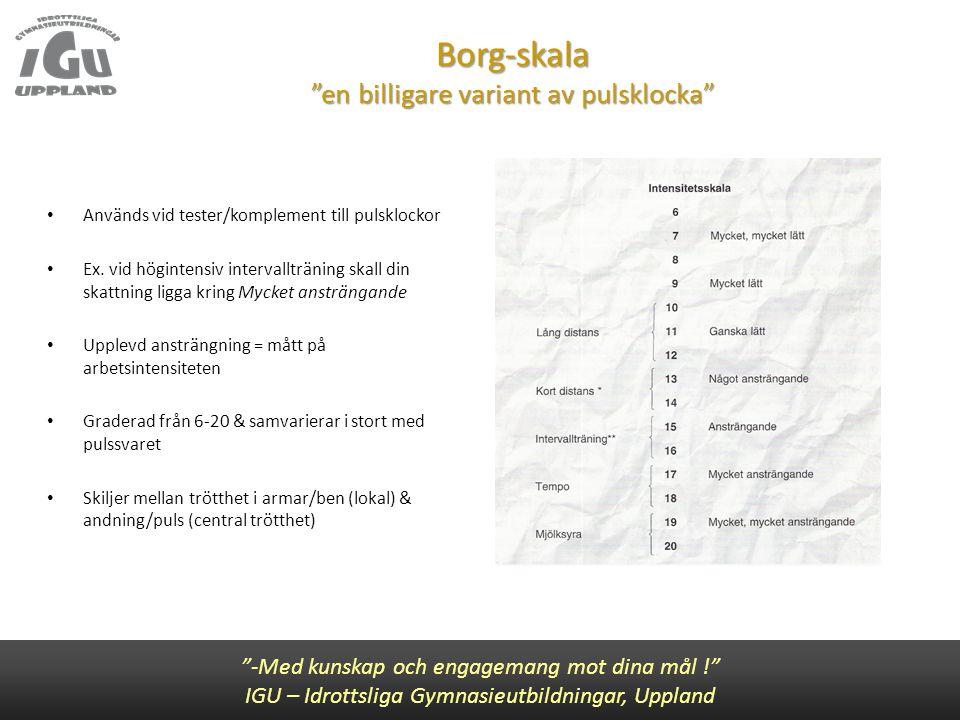 """Borg-skala """"en billigare variant av pulsklocka"""" """"-Med kunskap och engagemang mot dina mål !"""" IGU – Idrottsliga Gymnasieutbildningar, Uppland • Används"""