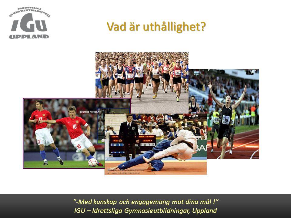 """Vad är uthållighet? """"-Med kunskap och engagemang mot dina mål !"""" IGU – Idrottsliga Gymnasieutbildningar, Uppland"""