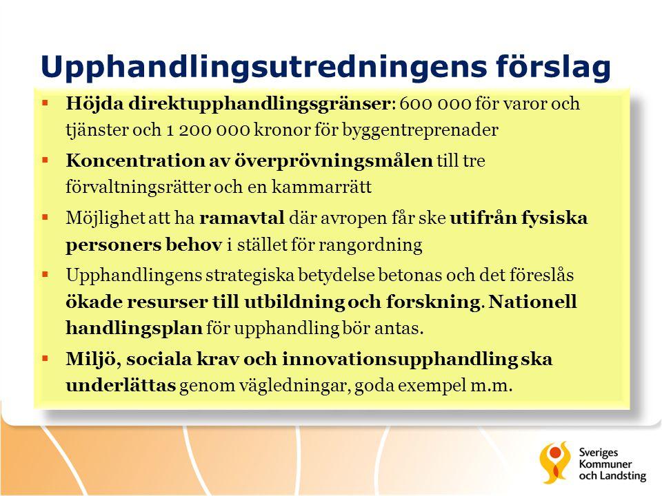 Upphandlingsutredningens förslag  Höjda direktupphandlingsgränser: 600 000 för varor och tjänster och 1 200 000 kronor för byggentreprenader  Koncen