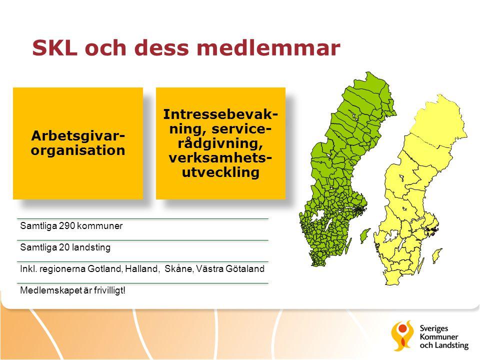 SKL och dess medlemmar Samtliga 290 kommuner Samtliga 20 landsting Inkl. regionerna Gotland, Halland, Skåne, Västra Götaland Medlemskapet är frivillig