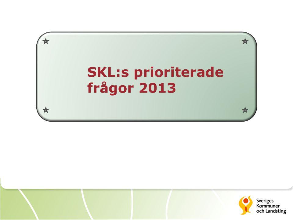 SKL:s prioriterade frågor 2013
