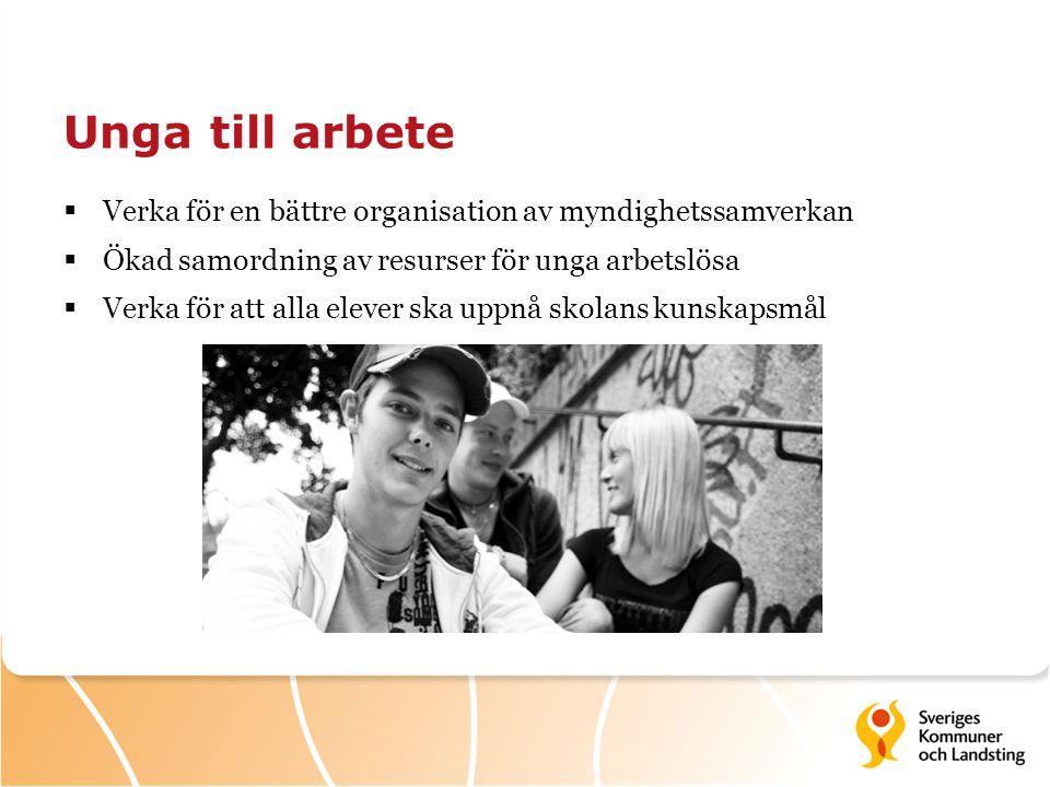 Unga till arbete  Verka för en bättre organisation av myndighetssamverkan  Ökad samordning av resurser för unga arbetslösa  Verka för att alla elev