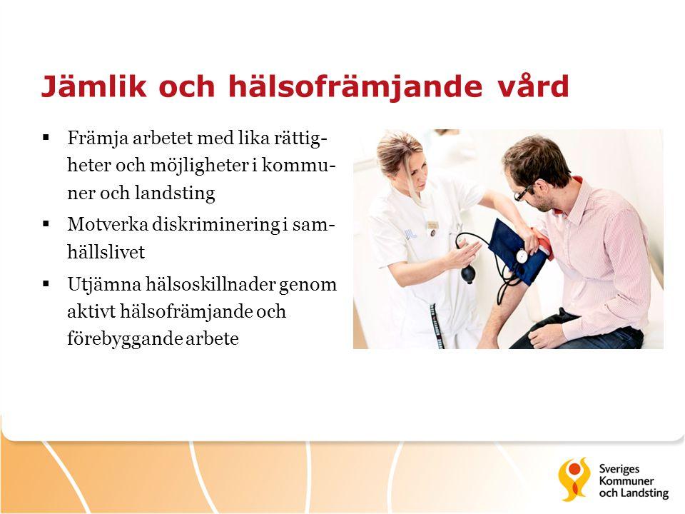 Jämlik och hälsofrämjande vård  Främja arbetet med lika rättig- heter och möjligheter i kommu- ner och landsting  Motverka diskriminering i sam- häl