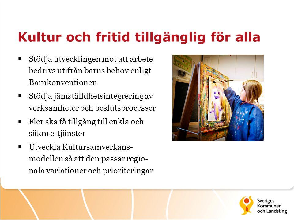 Kultur och fritid tillgänglig för alla  Stödja utvecklingen mot att arbete bedrivs utifrån barns behov enligt Barnkonventionen  Stödja jämställdhets