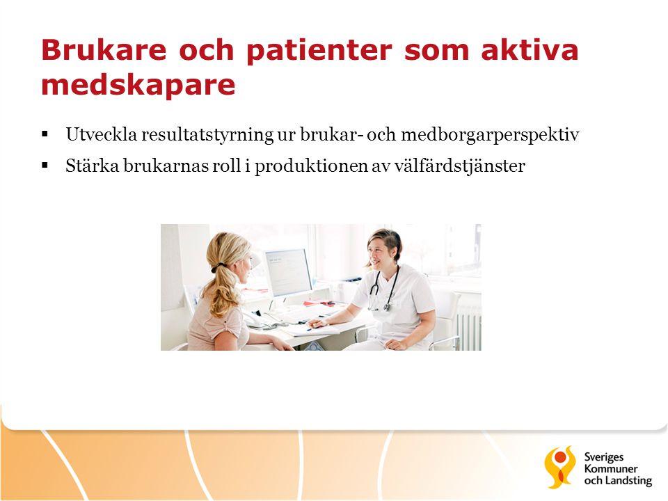 Brukare och patienter som aktiva medskapare  Utveckla resultatstyrning ur brukar- och medborgarperspektiv  Stärka brukarnas roll i produktionen av v