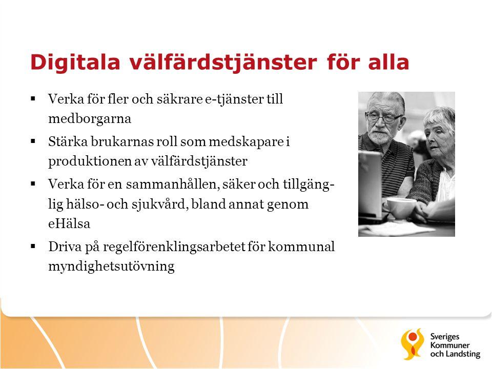 Digitala välfärdstjänster för alla  Verka för fler och säkrare e-tjänster till medborgarna  Stärka brukarnas roll som medskapare i produktionen av v