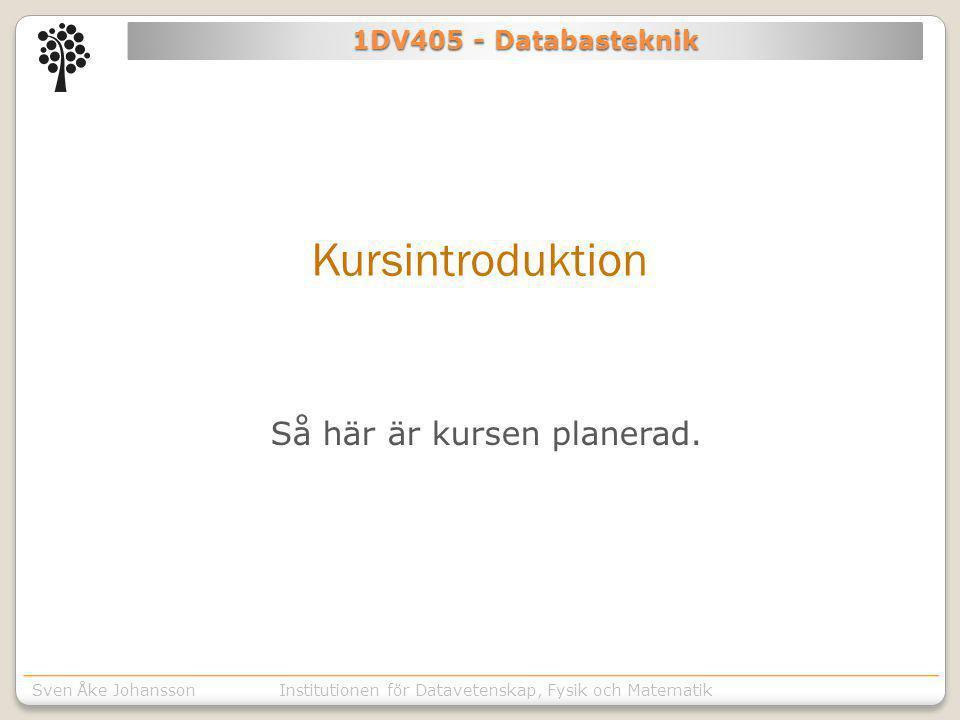Institutionen för Kommunikation o designSven Åke JohanssonInstitutionen för Datavetenskap, Fysik och Matematik 1DV405 - Databasteknik Kursintroduktion Så här är kursen planerad.
