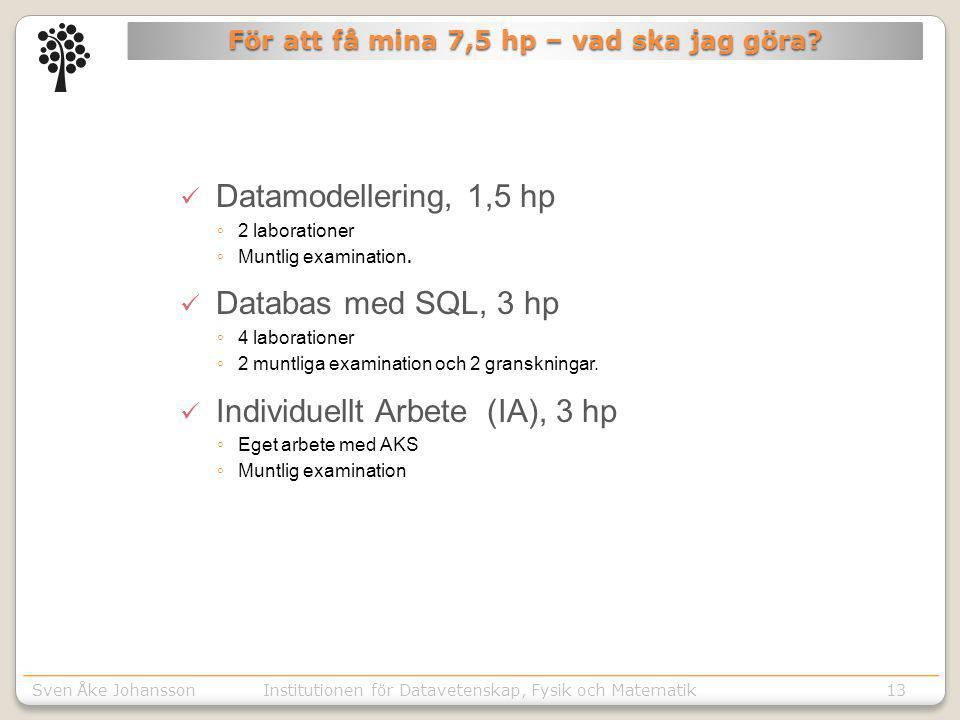 Sven Åke JohanssonInstitutionen för Kommunikation o designSven Åke JohanssonInstitutionen för Datavetenskap, Fysik och Matematik13 För att få mina 7,5 hp – vad ska jag göra.