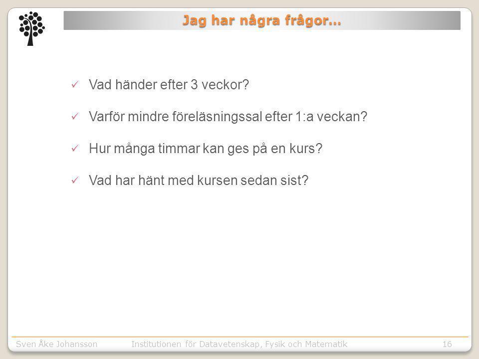 Sven Åke JohanssonInstitutionen för Kommunikation o designSven Åke JohanssonInstitutionen för Datavetenskap, Fysik och Matematik16  Vad händer efter 3 veckor.