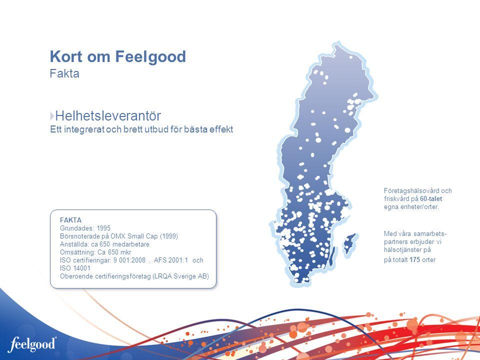 Kort om Feelgood Fakta FAKTA Grundades: 1995 Börsnoterade på OMX Small Cap (1999) Anställda: ca 650 medarbetare Omsättning: Ca 650 mkr ISO certifieringar: 9 001:2008, AFS 2001:1 och ISO 14001 Oberoende certifieringsföretag (LRQA Sverige AB) Helhetsleverantör Ett integrerat och brett utbud för bästa effekt Företagshälsovård och friskvård på 60-talet egna enheter/orter.