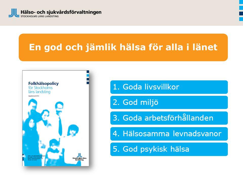 1. Goda livsvillkor2. God miljö 3. Goda arbetsförhållanden 4. Hälsosamma levnadsvanor5. God psykisk hälsa En god och jämlik hälsa för alla i länet