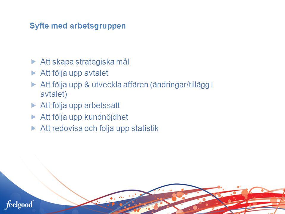Syfte med arbetsgruppen  Att skapa strategiska mål  Att följa upp avtalet  Att följa upp & utveckla affären (ändringar/tillägg i avtalet)  Att föl