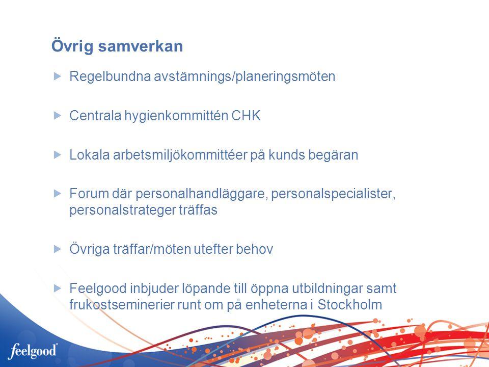 Övrig samverkan  Regelbundna avstämnings/planeringsmöten  Centrala hygienkommittén CHK  Lokala arbetsmiljökommittéer på kunds begäran  Forum där personalhandläggare, personalspecialister, personalstrateger träffas  Övriga träffar/möten utefter behov  Feelgood inbjuder löpande till öppna utbildningar samt frukostseminerier runt om på enheterna i Stockholm