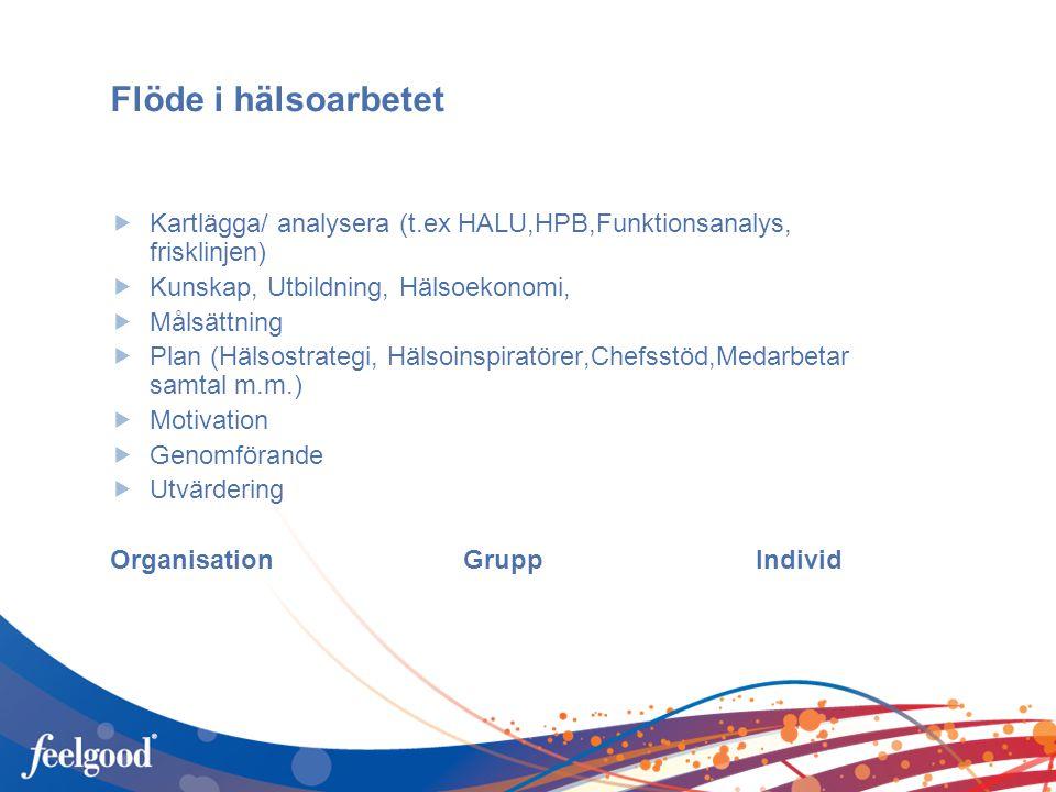 Flöde i hälsoarbetet  Kartlägga/ analysera (t.ex HALU,HPB,Funktionsanalys, frisklinjen)  Kunskap, Utbildning, Hälsoekonomi,  Målsättning  Plan (Hälsostrategi, Hälsoinspiratörer,Chefsstöd,Medarbetar samtal m.m.)  Motivation  Genomförande  Utvärdering Organisation Grupp Individ