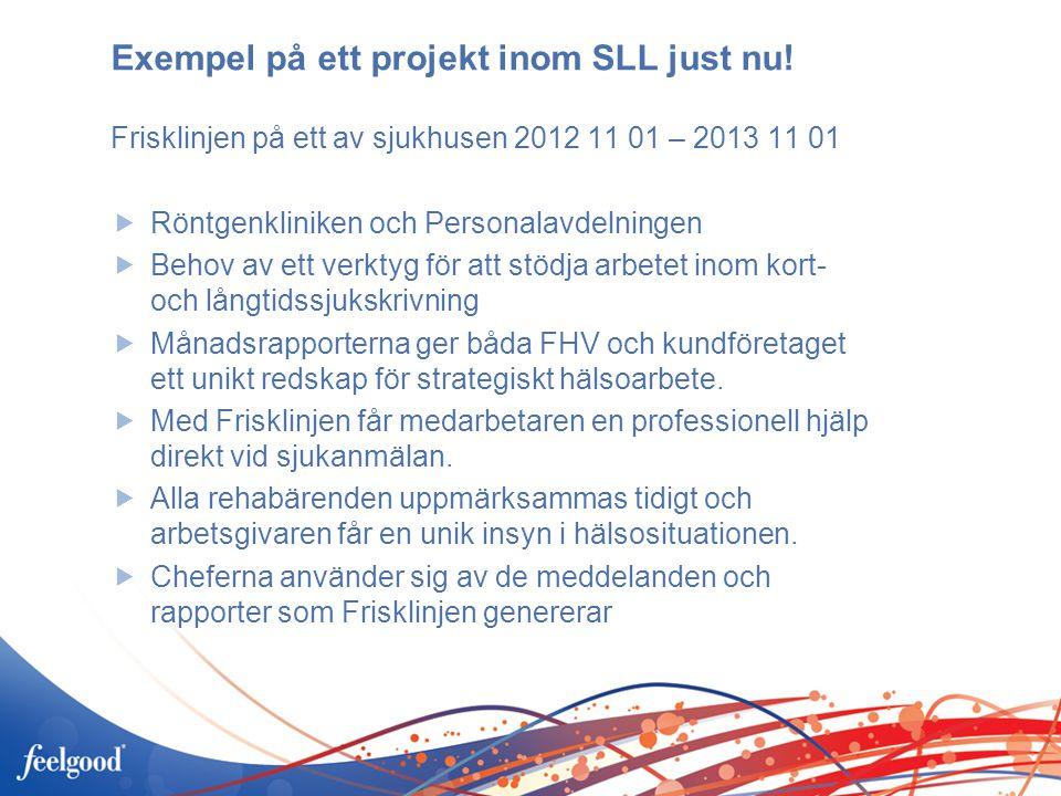 Exempel på ett projekt inom SLL just nu! Frisklinjen på ett av sjukhusen 2012 11 01 – 2013 11 01  Röntgenkliniken och Personalavdelningen  Behov av
