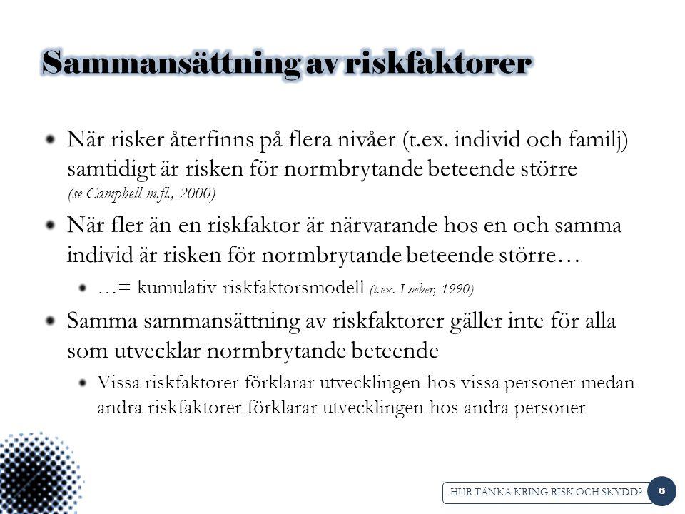 ESTER-bedömning (Andershed & Andershed, 2010) Evidensbaserad strukturerad bedömning av risk och skyddsfaktorer för barn (0-18 år) med eller i riskzonen för normbrytande beteende Bedömning av 19 risk- och skyddsfaktorer görs av en professionell baserat på multipla informanter (t.ex.