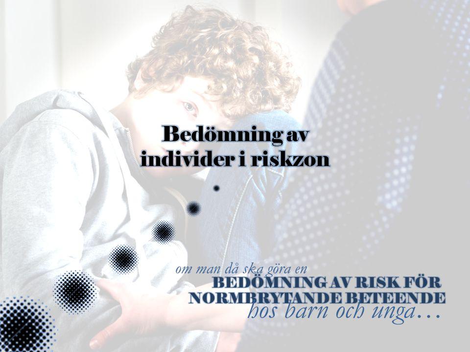 BEDÖMNING AV INDIVIDER I RISKZON Användning av ett strukturerat instrument, i det här fallet ESTER-bedömning, leder till… att fler forskningsbaserade risk- och skyddsfaktorer bärs fram i en bedömning Högre grad av samstämmighet i att identifiera risk- och skyddsfaktorer att man, enligt socialchefer: gör bättre/mer adekvata bedömningar i mindre utsträckning missar viktiga saker … jämfört med när man inte använder ett strukturerat instrument (men t.ex.