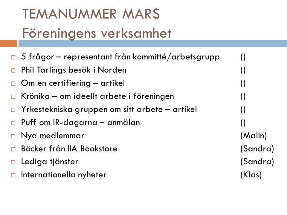 TEMANUMMER MARS Föreningens verksamhet  5 frågor – representant från kommitté/arbetsgrupp()  Phil Tarlings besök i Norden ()  Om en certifiering –