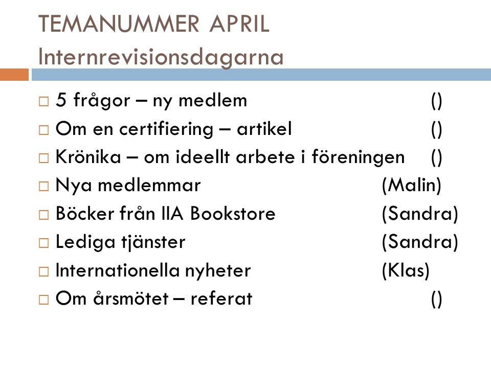TEMANUMMER JUNI Utvecklingen inom GRC  5 frågor – om en certifiering()  Om en certifiering – se ovan.()  Krönika –()  Nya medlemmar(Malin)  Böcker från IIA Bookstore(Sandra)  Lediga tjänster(Sandra)  Internationella nyheter(Klas)  IR-dagarna - artikel