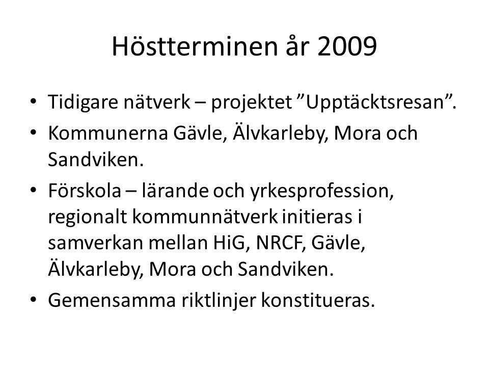 """Höstterminen år 2009 • Tidigare nätverk – projektet """"Upptäcktsresan"""". • Kommunerna Gävle, Älvkarleby, Mora och Sandviken. • Förskola – lärande och yrk"""