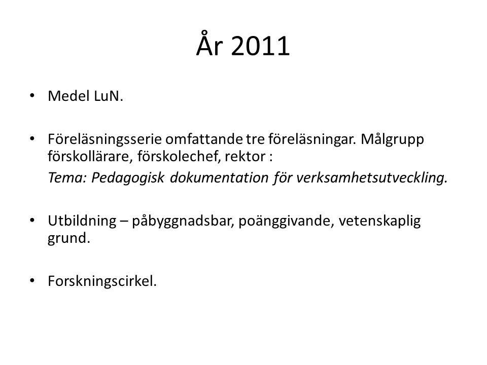 År 2011 • Medel LuN. • Föreläsningsserie omfattande tre föreläsningar. Målgrupp förskollärare, förskolechef, rektor : Tema: Pedagogisk dokumentation f