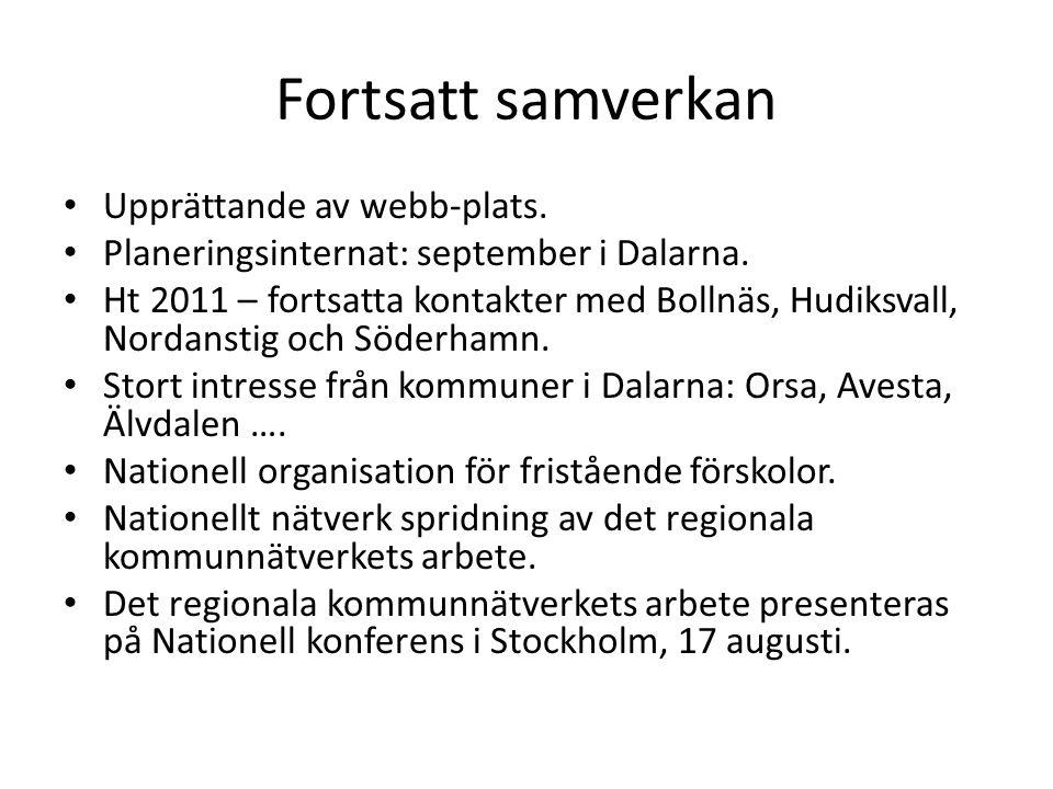 Fortsatt samverkan • Upprättande av webb-plats. • Planeringsinternat: september i Dalarna. • Ht 2011 – fortsatta kontakter med Bollnäs, Hudiksvall, No
