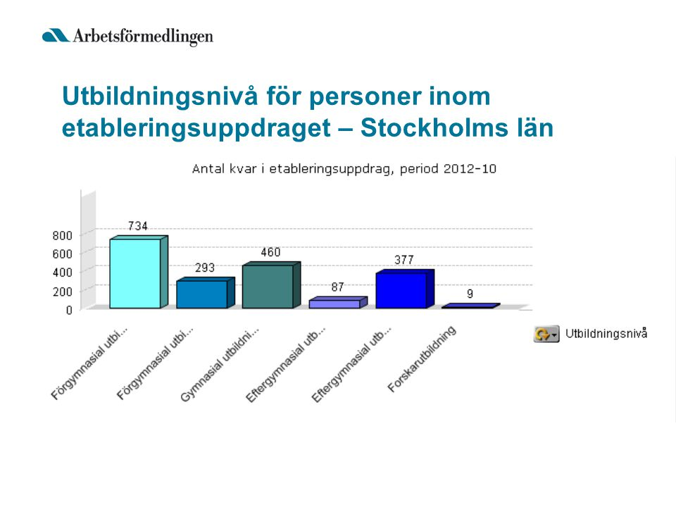 Utbildningsnivå för personer inom etableringsuppdraget – Stockholms län