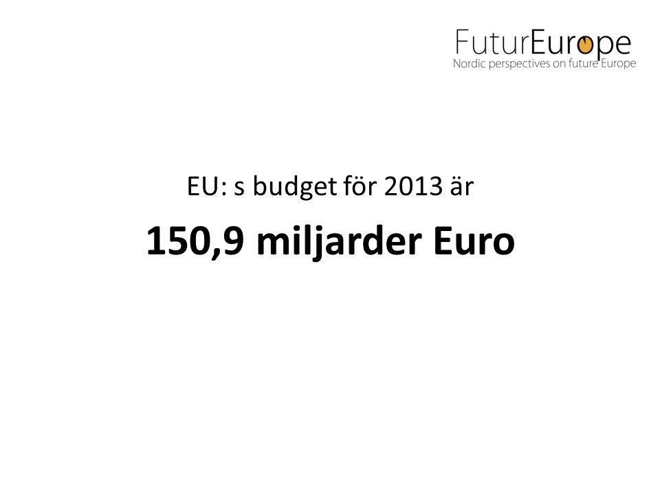 EU: s budget för 2013 är 150,9 miljarder Euro