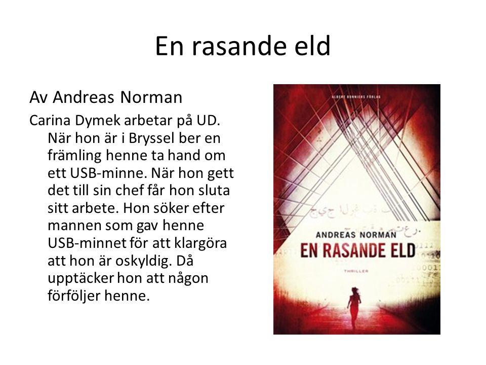 En rasande eld Av Andreas Norman Carina Dymek arbetar på UD. När hon är i Bryssel ber en främling henne ta hand om ett USB-minne. När hon gett det til