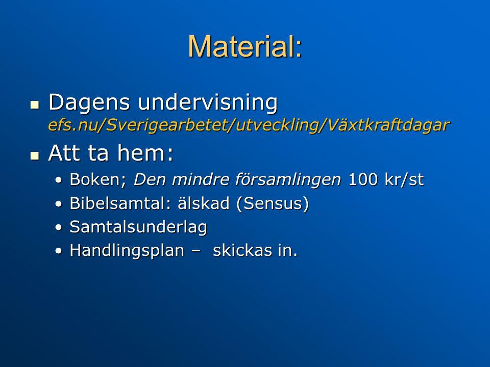 Material:  Dagens undervisning efs.nu/Sverigearbetet/utveckling/Växtkraftdagar  Att ta hem: •Boken; Den mindre församlingen 100 kr/st •Bibelsamtal: