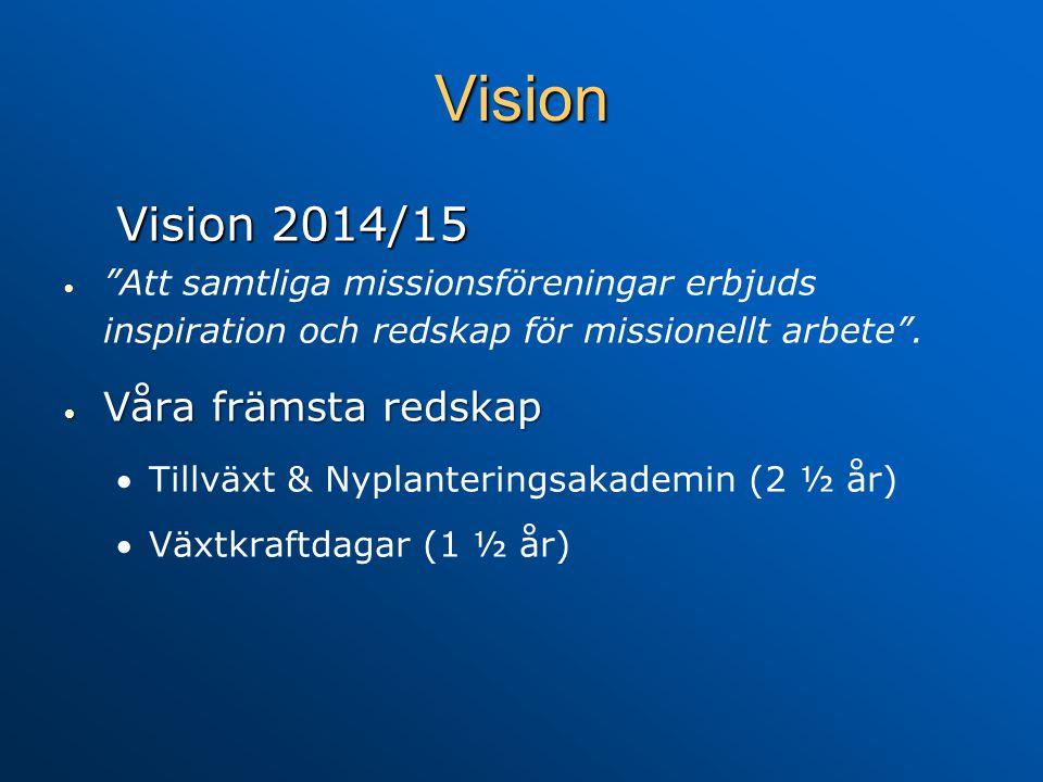 """Vision Vision 2014/15   """"Att samtliga missionsföreningar erbjuds inspiration och redskap för missionellt arbete"""".  Våra främsta redskap  Tillväxt"""