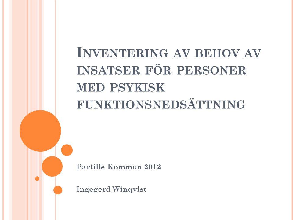 I NVENTERING AV BEHOV AV INSATSER FÖR PERSONER MED PSYKISK FUNKTIONSNEDSÄTTNING Partille Kommun 2012 Ingegerd Winqvist