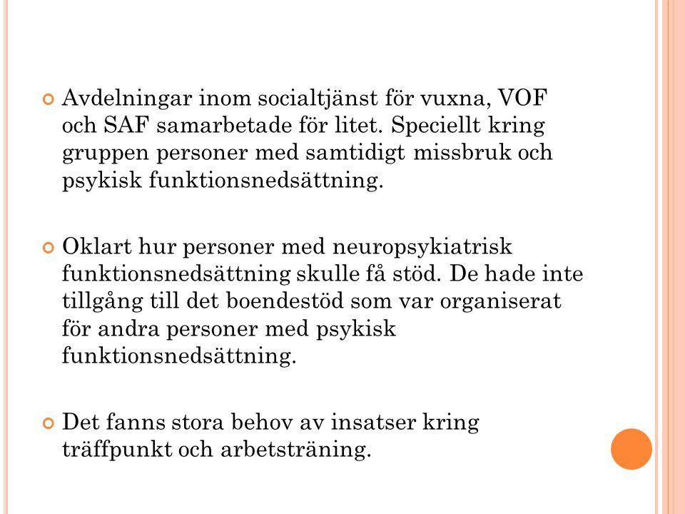Avdelningar inom socialtjänst för vuxna, VOF och SAF samarbetade för litet. Speciellt kring gruppen personer med samtidigt missbruk och psykisk funkti