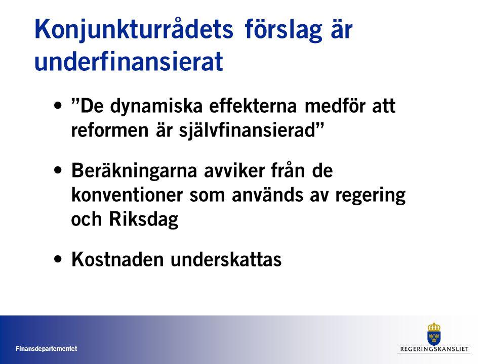 Finansdepartementet Konjunkturrådets förslag är underfinansierat • De dynamiska effekterna medför att reformen är självfinansierad • Beräkningarna avviker från de konventioner som används av regering och Riksdag • Kostnaden underskattas